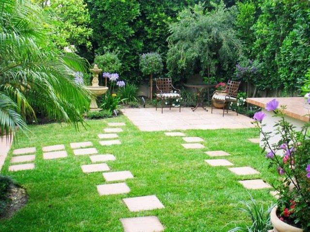 plazoleta cafe diseño jardin caminos
