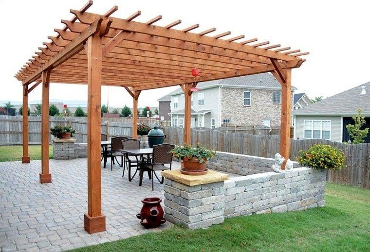 Pergolas de madera para el jard n m s de cincuenta ideas for Zocalos para patios modernos