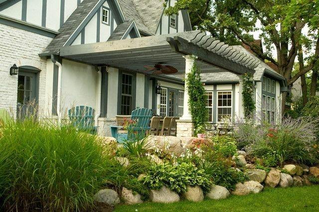 porche casa madera teca gris