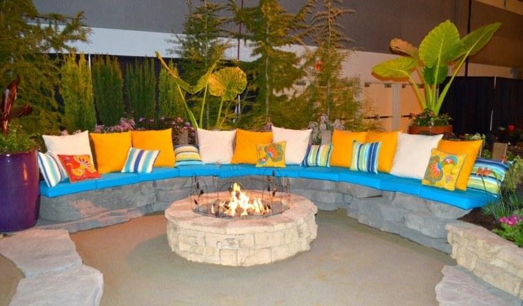 pozo fuego roca colorido jardin patio