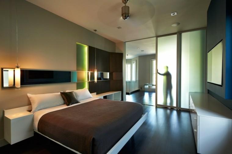 puertas cristal separan dormitorio moderno salon ideas