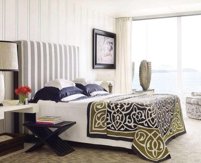 Paleta de colores para el dormitorio es hora de un cambio - Pared pintada a rayas verticales ...