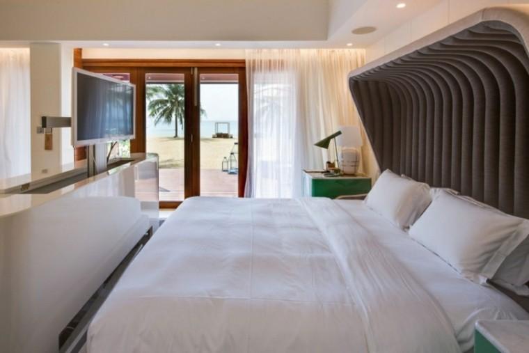 respaldo cama moderno original ventanal blanco ideas