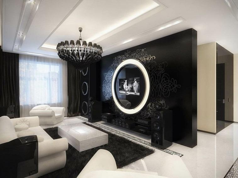 retro decorar salas blanco negro