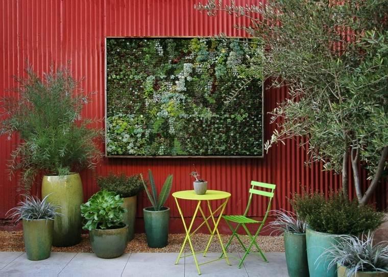 revestimiento chapa roja jardin vertical exterior