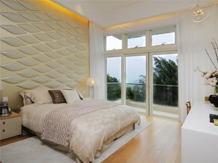 Revestimiento de paredes de dormitorios 50 ideas - Paneles de decoracion para paredes ...