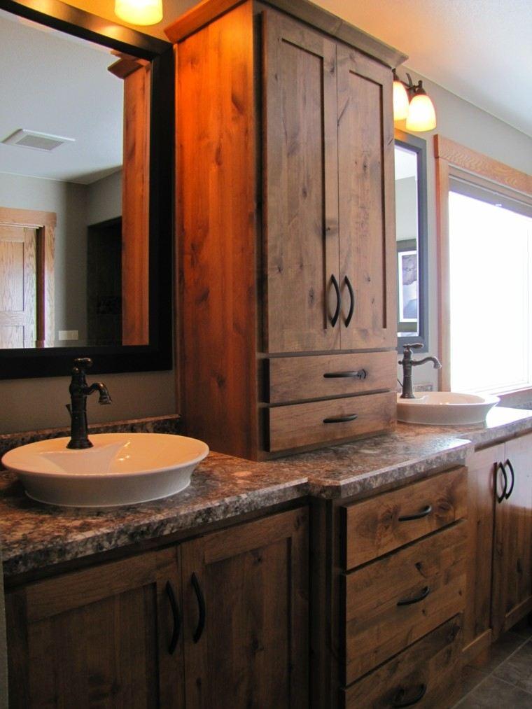 roble estante baño calido caoba