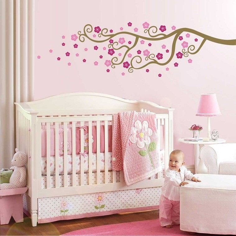rosa bebe flores arbol decoracion bebe