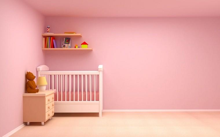 rosa minimalista habitacion oso infantil mueble