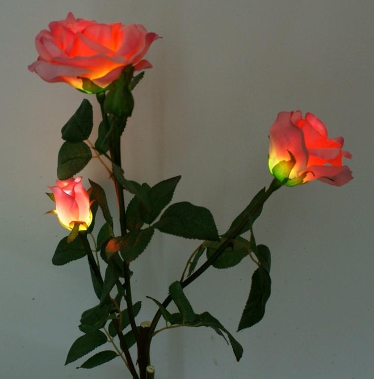 rosas artificiales luz jardin deco