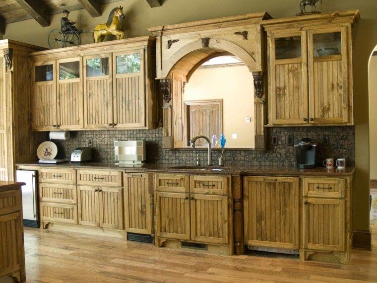 rustica cocina caballo madera estantes