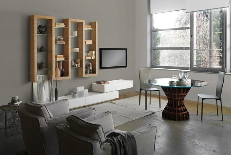 sala estar estanteria pared madera