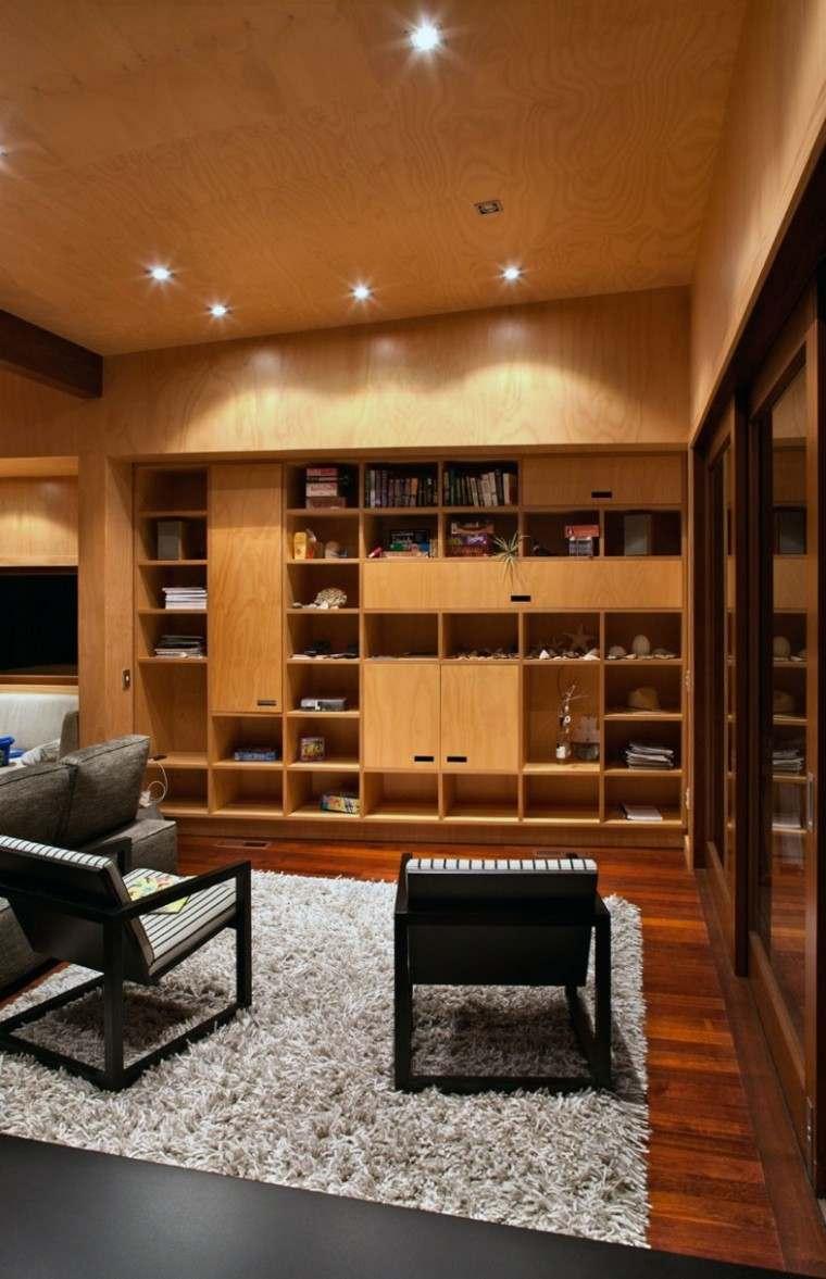 Techos de madera cincuenta ideas modernas for Sala de estar de madera