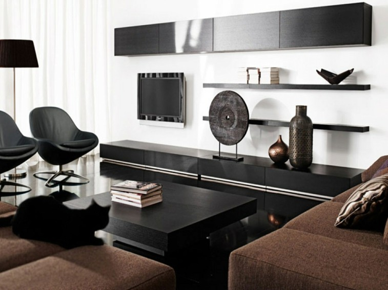 Decorar salas de estar en blanco y negro se atreve - Muebles sala estar ...