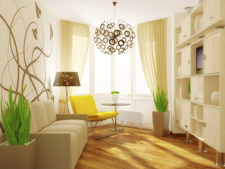 sala estar iluminada color beige