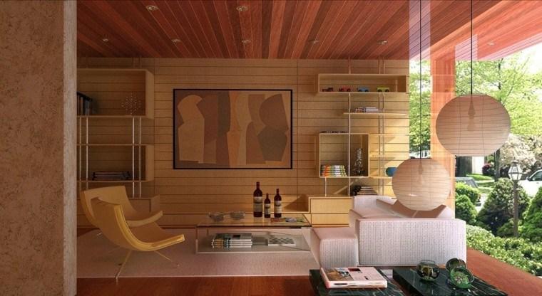 techos de madera cincuenta ideas modernas On moderna sala de estar techo decoracion