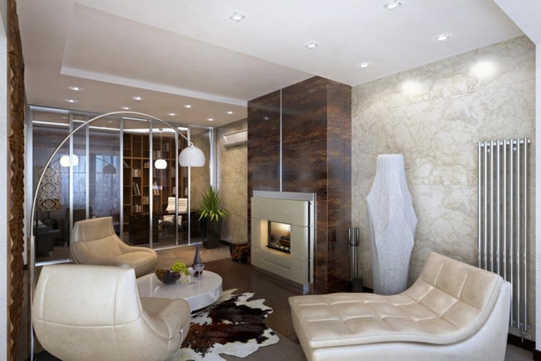 sala estar muebles blancos acolchados