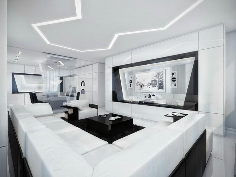 sala estar blanca muy futurista