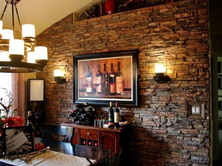 sala estar pared piedras laminas