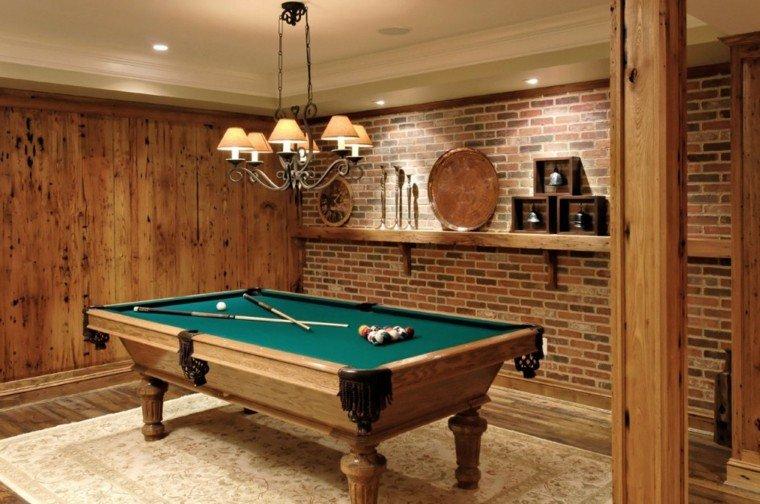 Piedra y madera para los revestimientos de paredes for Basement billiard room ideas