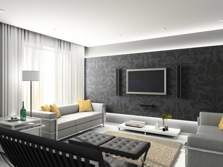 sala moderna negro gris pared