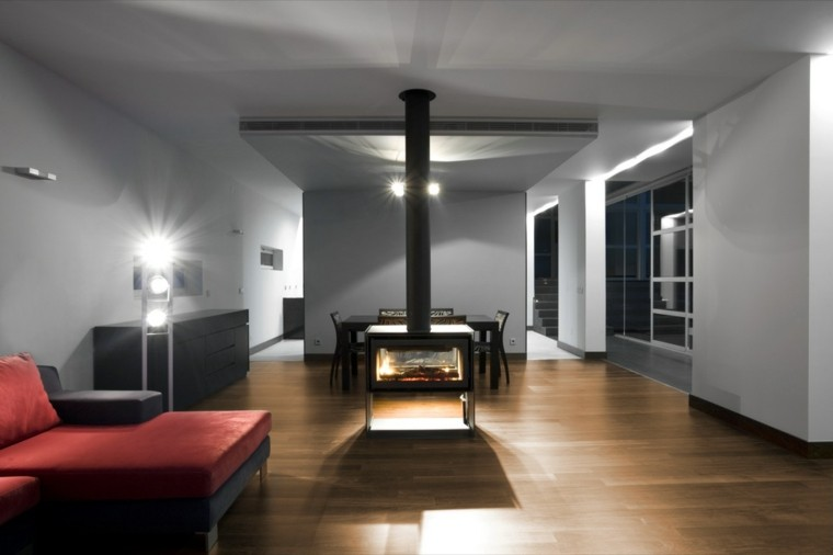 salon estilo moderno chimenea central
