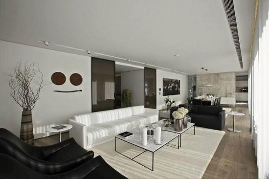 salon amplio largo color blanco sofa butacas negras ideas