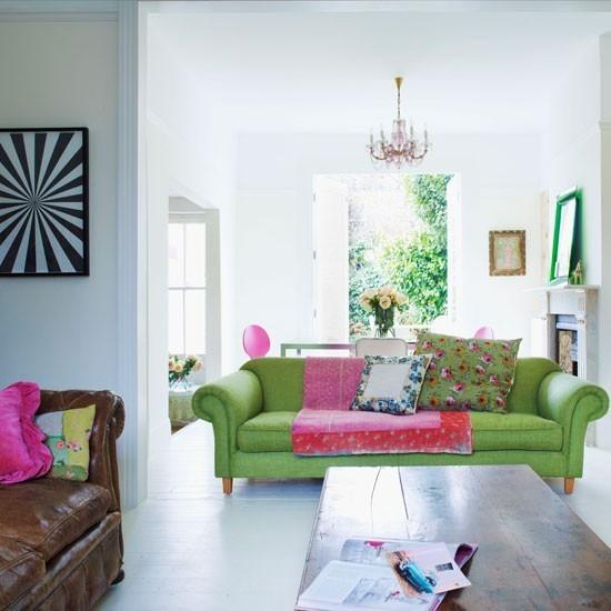 salon amplio sofa verde grande sofa cuero marron ideas