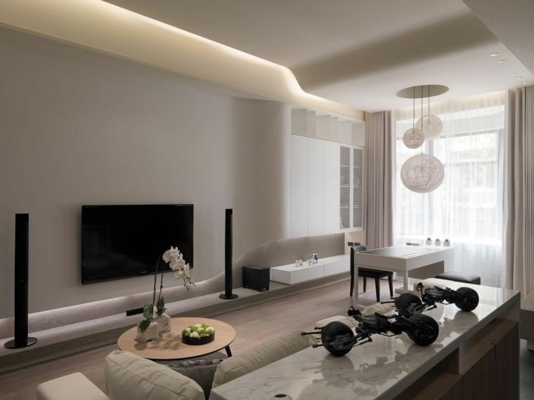 salon color beige luces led