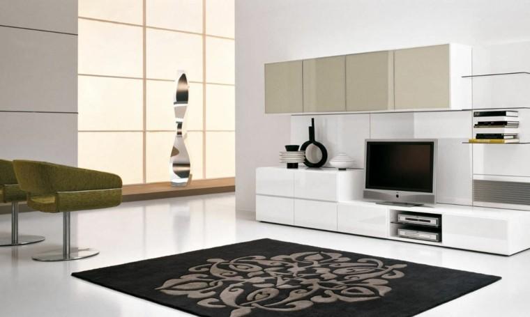 salon blanco alfombra negra formas