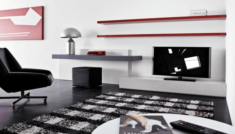 salon colores blanco negro rojo