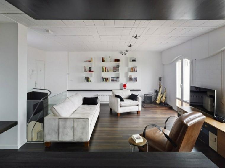 salon blanco techo madera sofas cuero ideas
