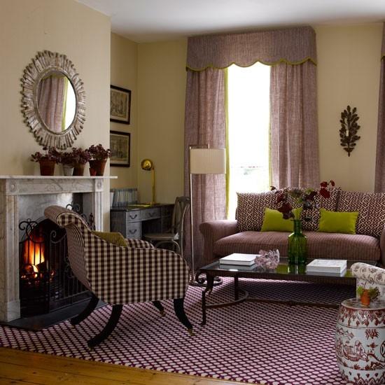 salon chimenea estilo retro muebles ideas
