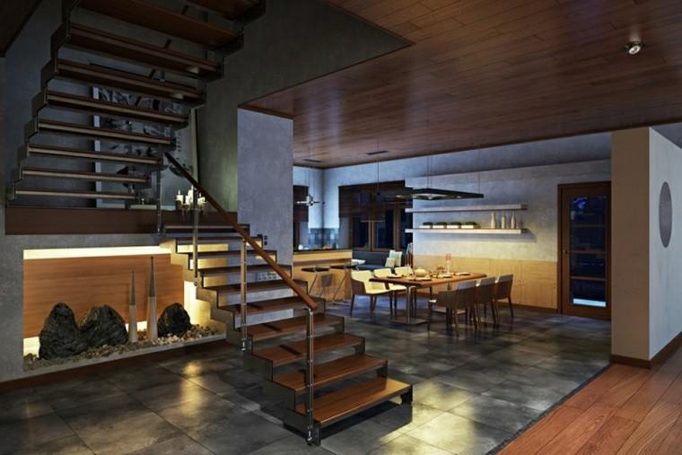 Interiores modernos 65 ideas para la decoraci n - Revestimientos de paredes interiores en madera ...