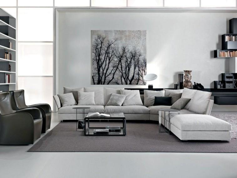 salon decorado colores blanco gris