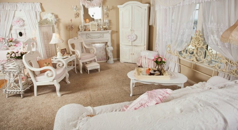 salon estilo shabby chic colores claros blanco rosa ideas