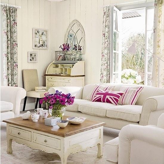 salon estilo shabby chic cortinas estampas florales ideas blanco