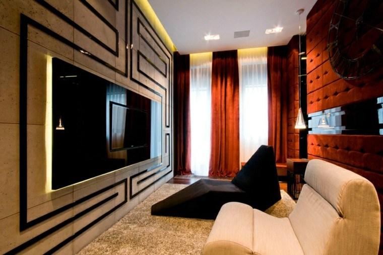 salon estreco butacas negra blanca cortinas rojas ideas