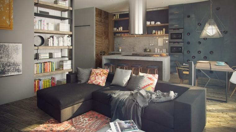 salon loft cocina campana sofa
