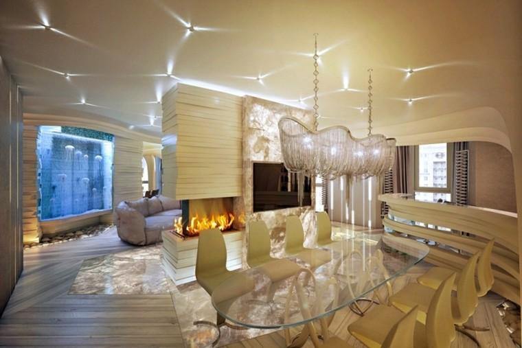 salon estilo lujoso diseño chimenea