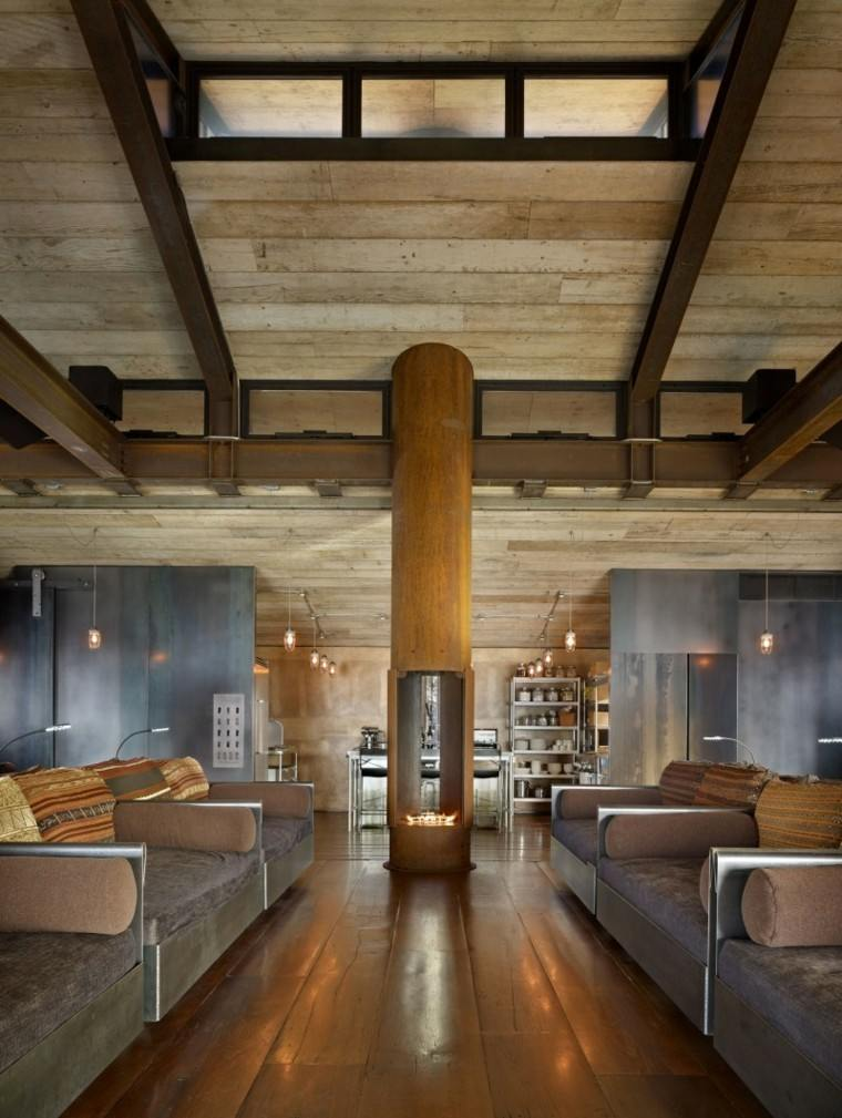 salon madera chimenea centro columna