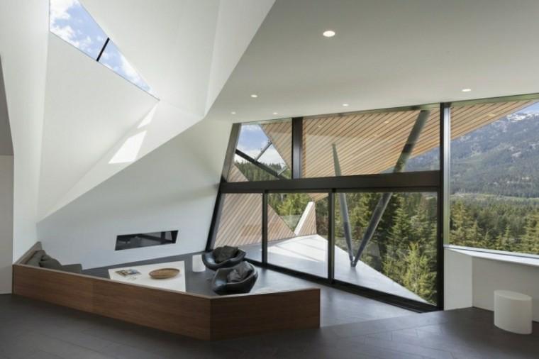 salon moderno butacas cuero negro ventanal ideas