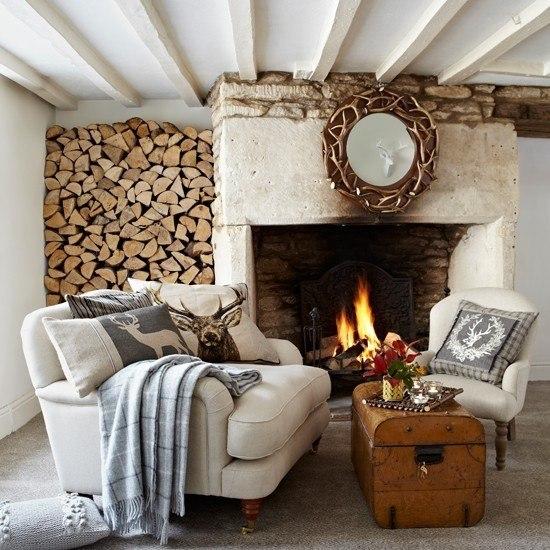 salon moderno casa campo chimenea ideas originales fuego