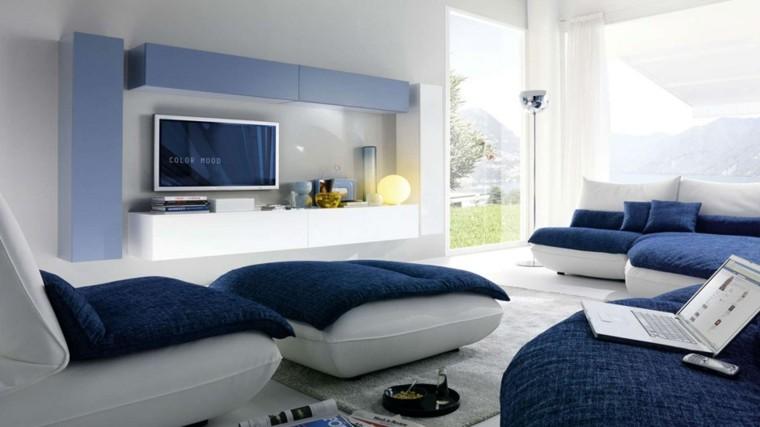 salon moderno diseño color azul