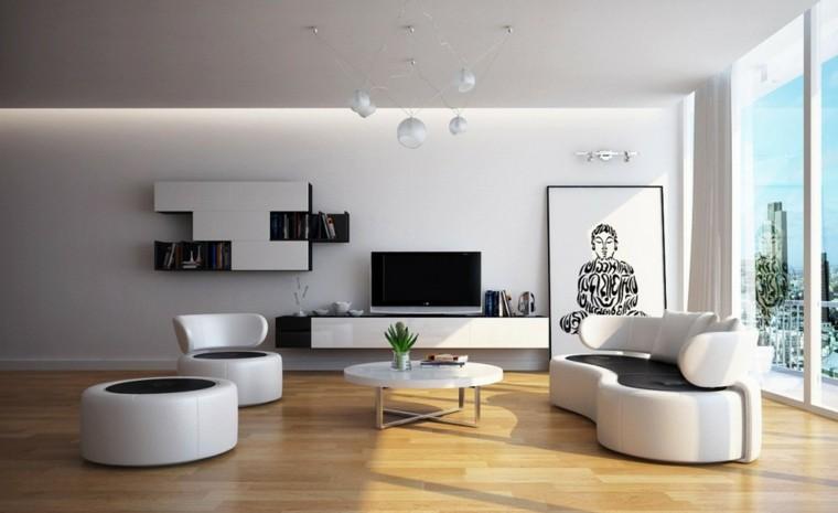 salon moderno cuadro buda muebles blancos