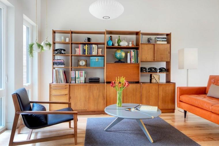 salon moderno estilo escandinavo sofa cuero naranja ideas