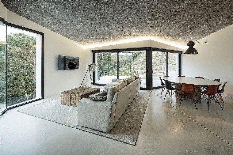 salon moderno estilo industrial hormigon