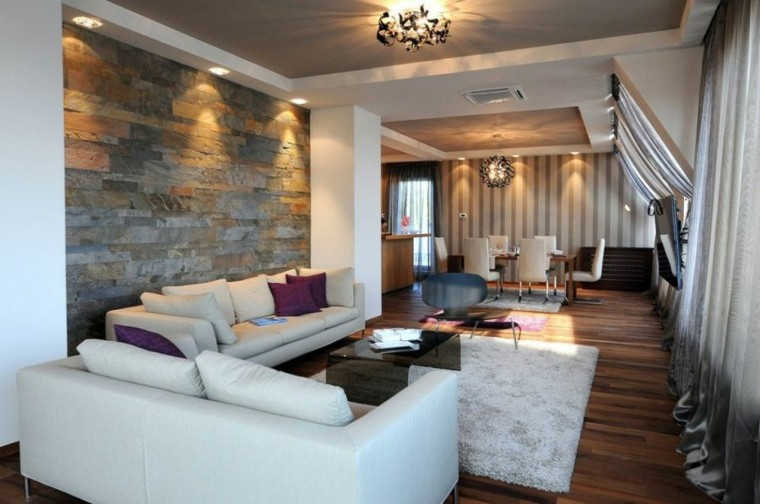 Piedra y madera para los revestimientos de paredes - Paredes salones modernos ...