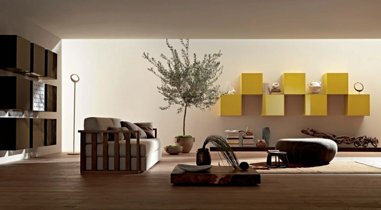 salon moderno muebles pared amarillos