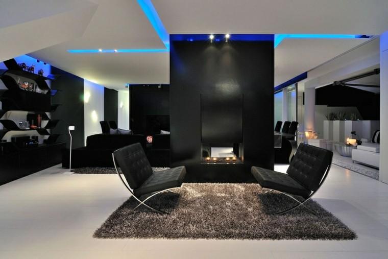 salon moderno muebles calidad butacas negras ideas